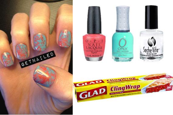 diy nail art saran wrap manicure