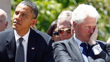 President Barack Obama with former President Bill Clinton