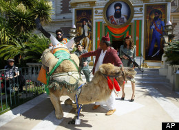 Sacha Baron Cohen's Dictator Falls Off A Camel At Cannes