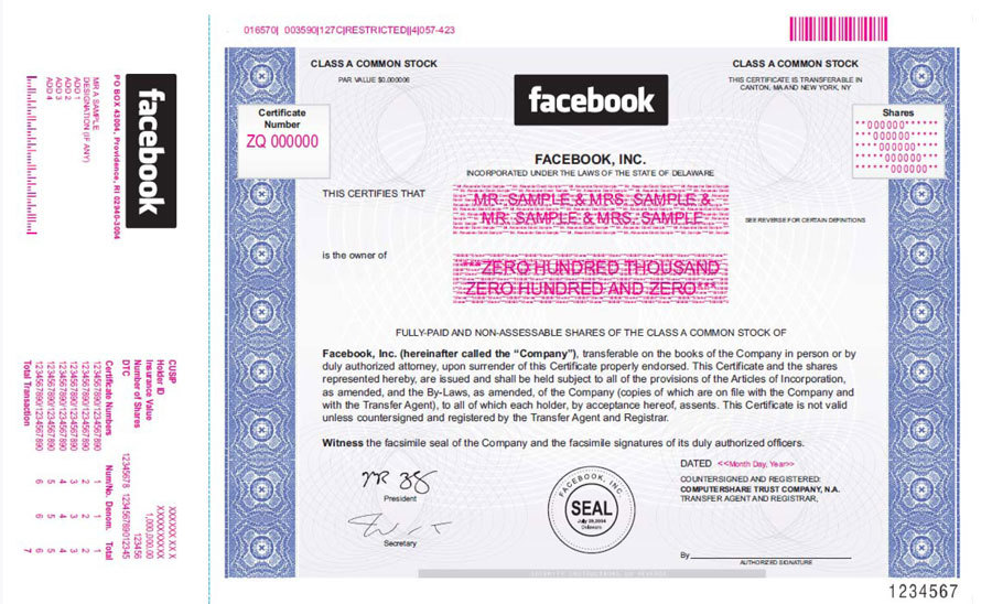Facebook stock certificate this is what a real share looks like facebook stock certificate yelopaper Gallery