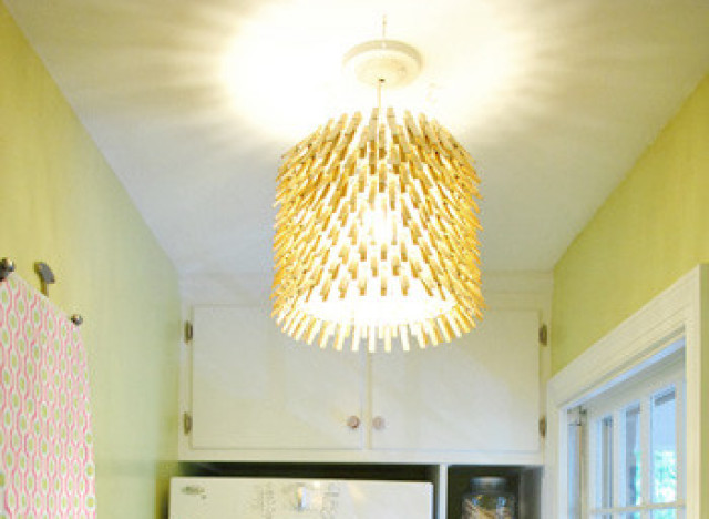 Craft of the day make this quirky clothespin chandelier huffpost - Lanterne papier ikea ...