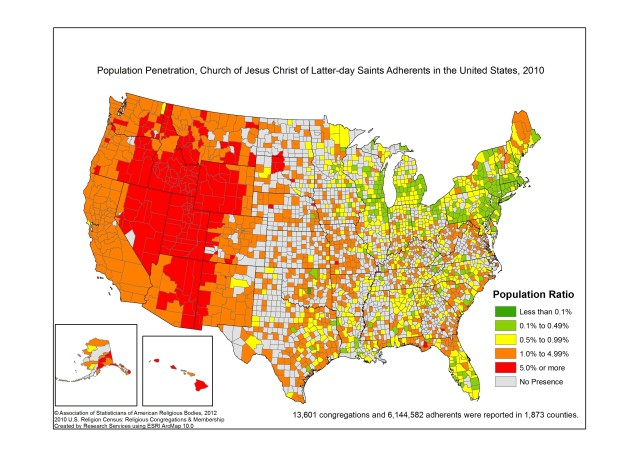 Most And Least Mormon States In America PHOTOS HuffPost - United states population map