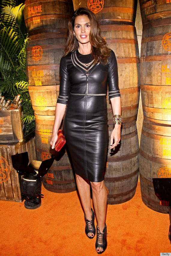 cindy crawford leather dress