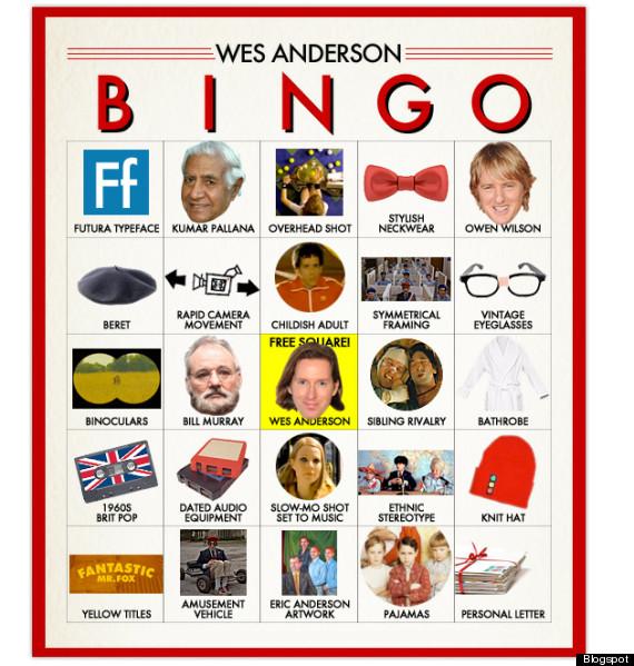 wes anderson bingo