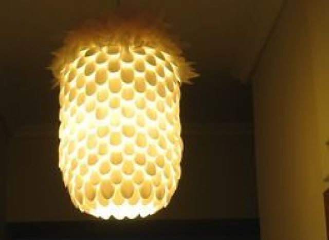 Hot on pinterest a chandelier made from plastic for Plastic spoon lamp video