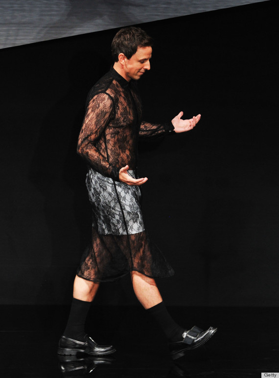 seth meyers marc jacobs lace dress
