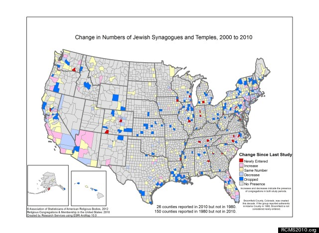 Most And Least Jewish States In America PHOTOS HuffPost - Map Of Most Populas Counties In Us