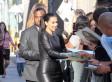 Kim Kardashian Leather Dress: Star's Dress Splits Open (PHOTO)