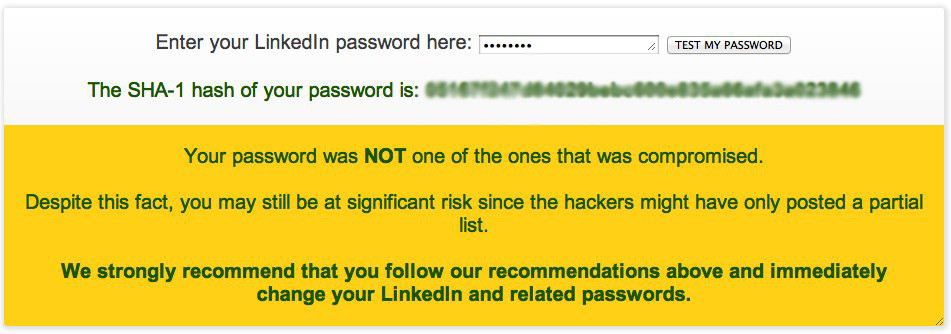 linkedin password hack check