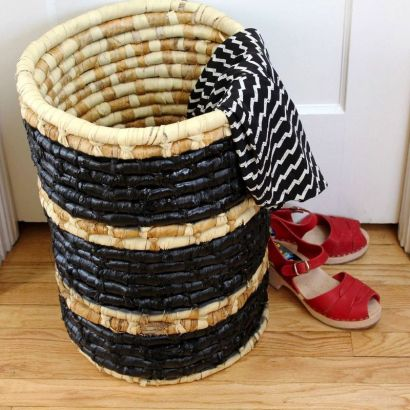 Craft of the day a striped hamper made with duct tape for Chapman laundry