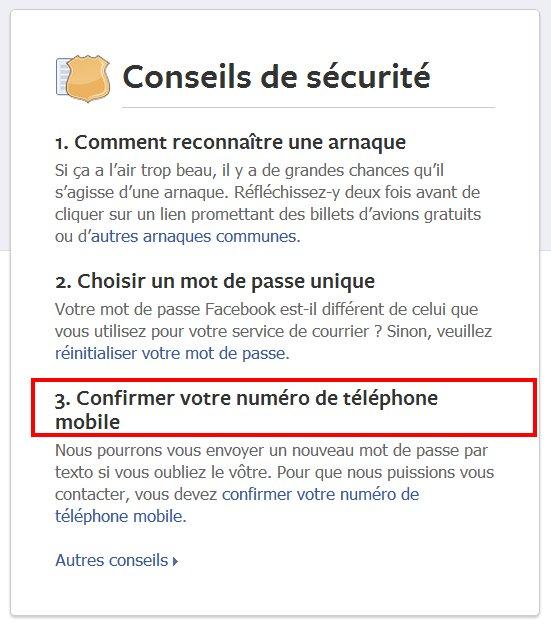 conseils de sécurité sur facebook