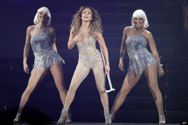 Katy Perry Copies J-Los Stage Style In Nude Diamond Bodysuit