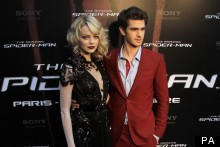 Emma Stone Matches Lipstick With Boyfriend At French Spider-Man Premiere