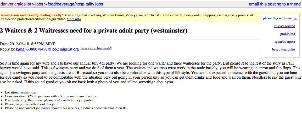 Best Craigslist Ad Ever? Host Seeks Waiters, Waitresses For 4th Of