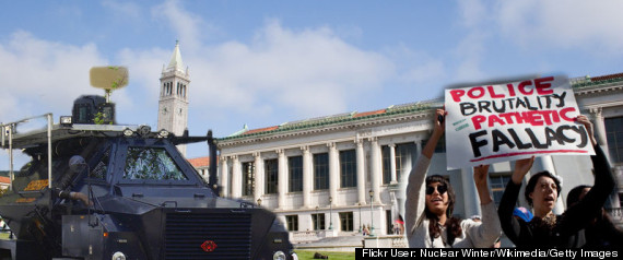 UC BERKELEY WITH TANK AND PROTESTERS