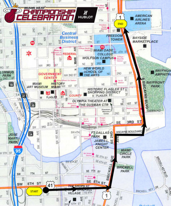 miami heat parade route map
