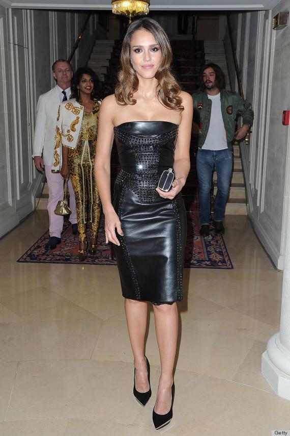jessica alba leather dress