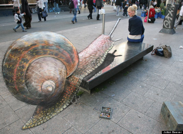 Street artist julian beever creates 3d chalk illusions photos