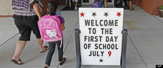 for their first day of classes at barwell road elementary school ...