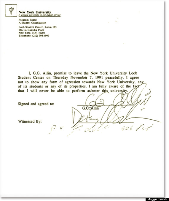 GG Allin NYU Letter How A Legendary Rocker Was Banned From NYU