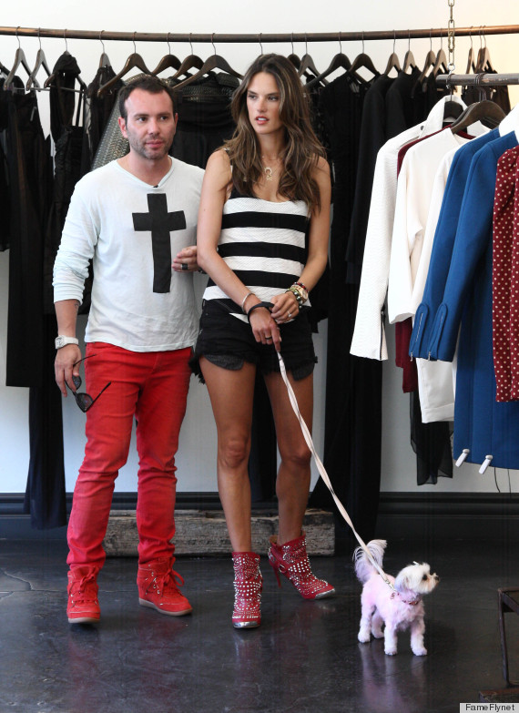 alessandra ambrosio red boots