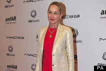 Sharon Stone Shines In Metallics For AIDS Charity Dinner