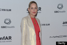 Sharon Stone Means Business In Coral Shift Dress and High-Shine Blazer