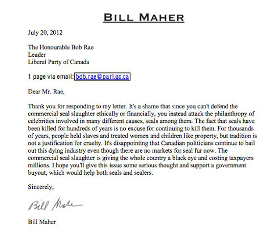 bill maher bob rae seal hunt