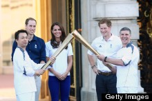The Duke And Duchess Of Cambridge Watch Olympic Torch Relay, Colour Co-Ordinate In Blue
