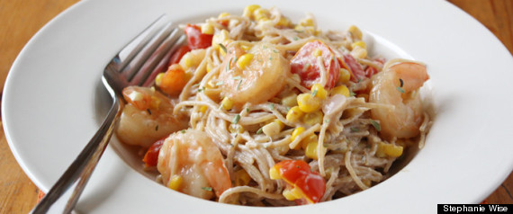 Summer Veggies With Pasta And Shrimp Recipe — Dishmaps