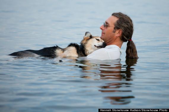 man dog lake suprerior photo