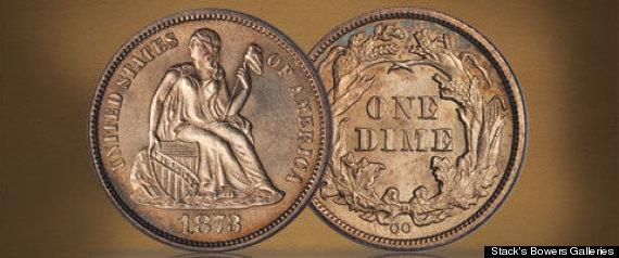 1873CC NO ARROWS LIBERTY SEATED DIME
