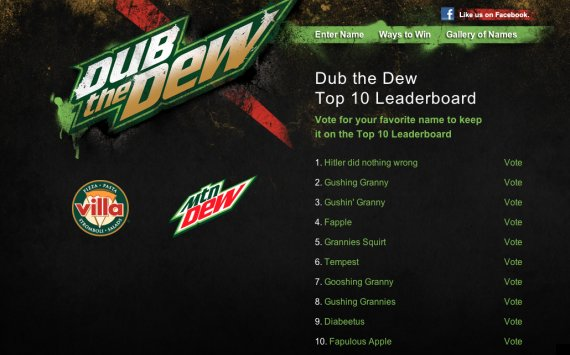 Mountain Dew Naming Campaign Hijacked By Infamous Message