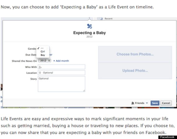 facebook expecting a baby option