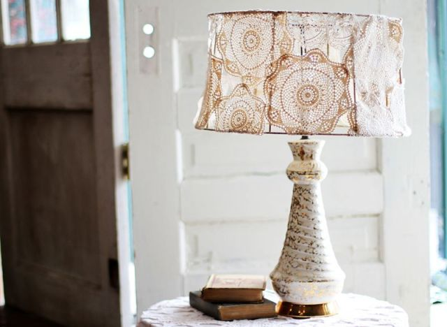 Craft of the day cover a plain lamp shade with pretty doilies craft of the day doily lamp shade aloadofball Image collections