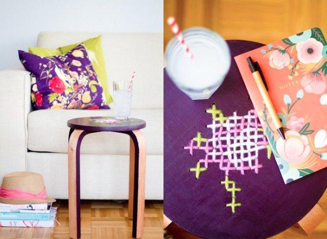 diy idea cross stitched stool