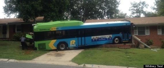 RIDE ON BUS HITS HOUSE