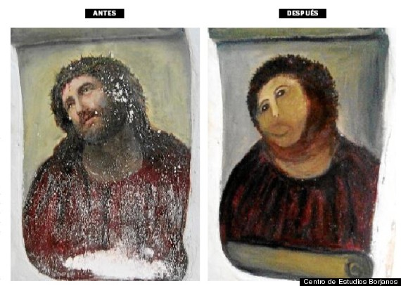 Elderly woman 39 s hilarious failed attempt at restoring a for Church mural restoration