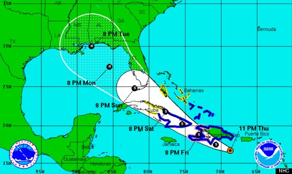 tropical storm isaac cone forecast path 11 pm th
