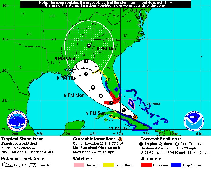 hurricane isaac tropical storm forecast path cone