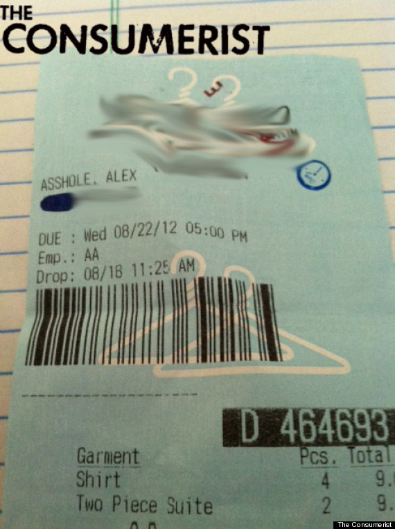 alex asshole laundry ticket