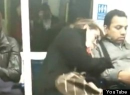 London Commuter Cuddles Stranger