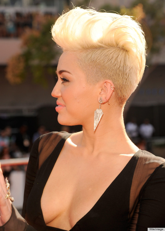 Miley Cyrus VMA 2012 Dress Features Plunging Cleavage Along With Her