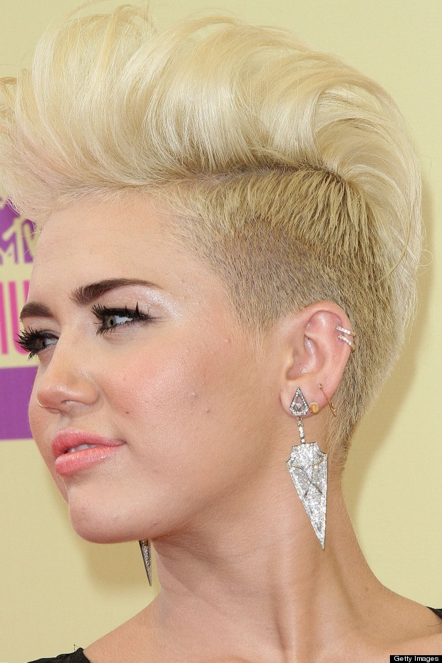 Miley cyrus short hairstyles: short faux hawk hairstyle for 2016