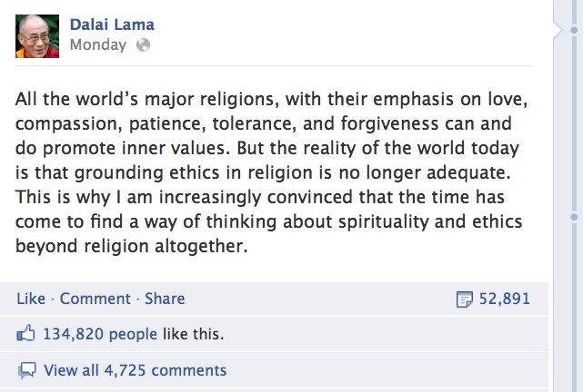 Dalai Lama's message to move beyond religion