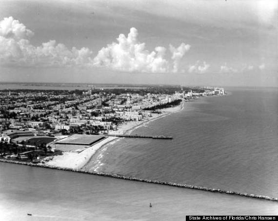 aerial 1964 miami beach south beach