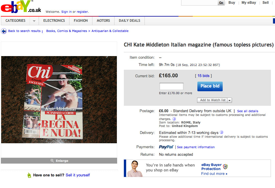 kate middleton ebay