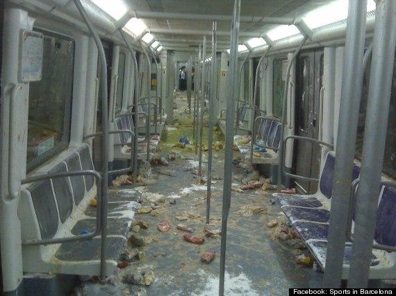 barcelona metro food fight