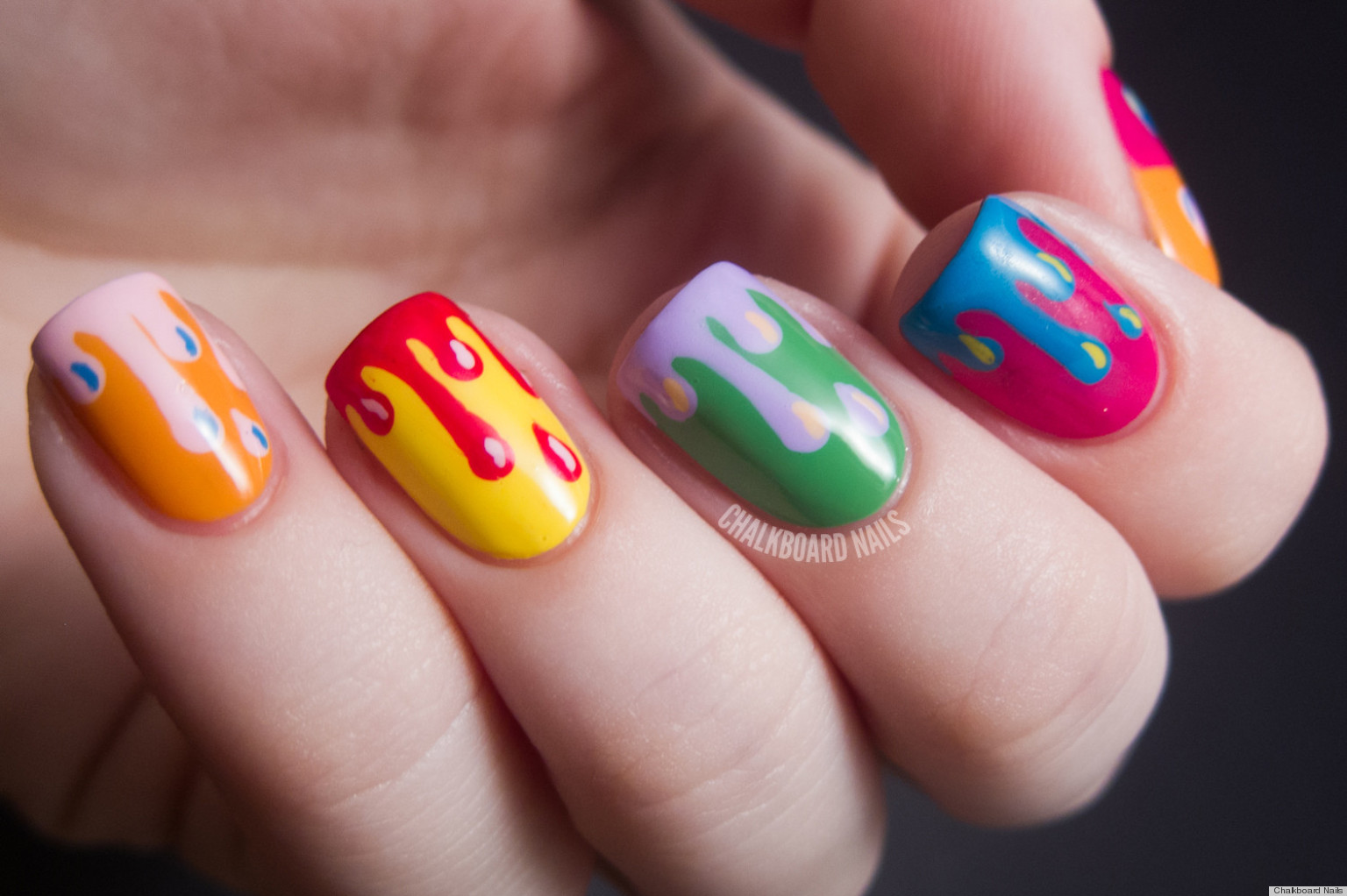 Diy Nail Ideas Paint Drip Nail Art And More Of Our Manicures From This Weekend Photos Huffpost