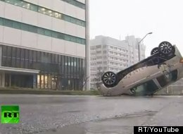 Typhoon Jelawat Flips Car Okinawa Video